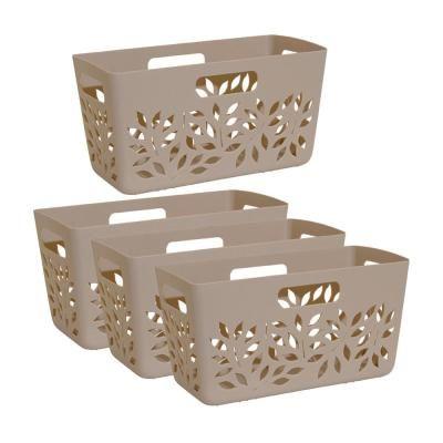 Best Hutzler Taupe Brown Plastic Pantry Basket 4 Piece Set 400 x 300