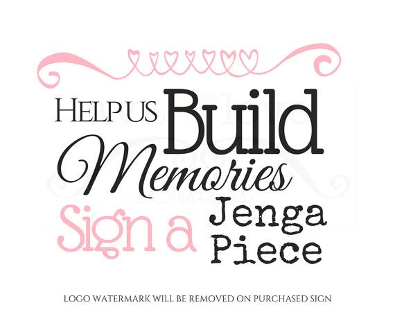 PRINTABLE Build Memories Sign a Jenga Piece Guest Sign In Template - guest book template