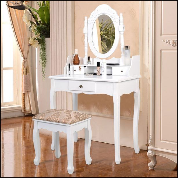 Wonderful Furniture:White Makeup Vanity Table Set W Bench White Makeup Vanity Table  Set W Bench