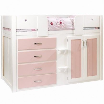 Kids Cabin Bed White And Princess Pink