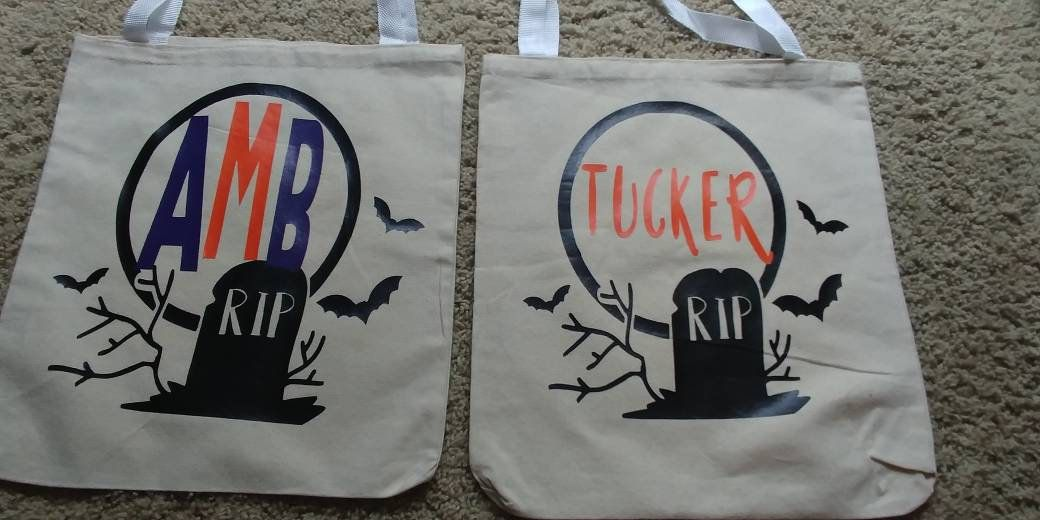 Trick Or Treat Tote Bags By Simplemadebyhand On Etsy Tote Bag Bags Trick Or Treat Bags