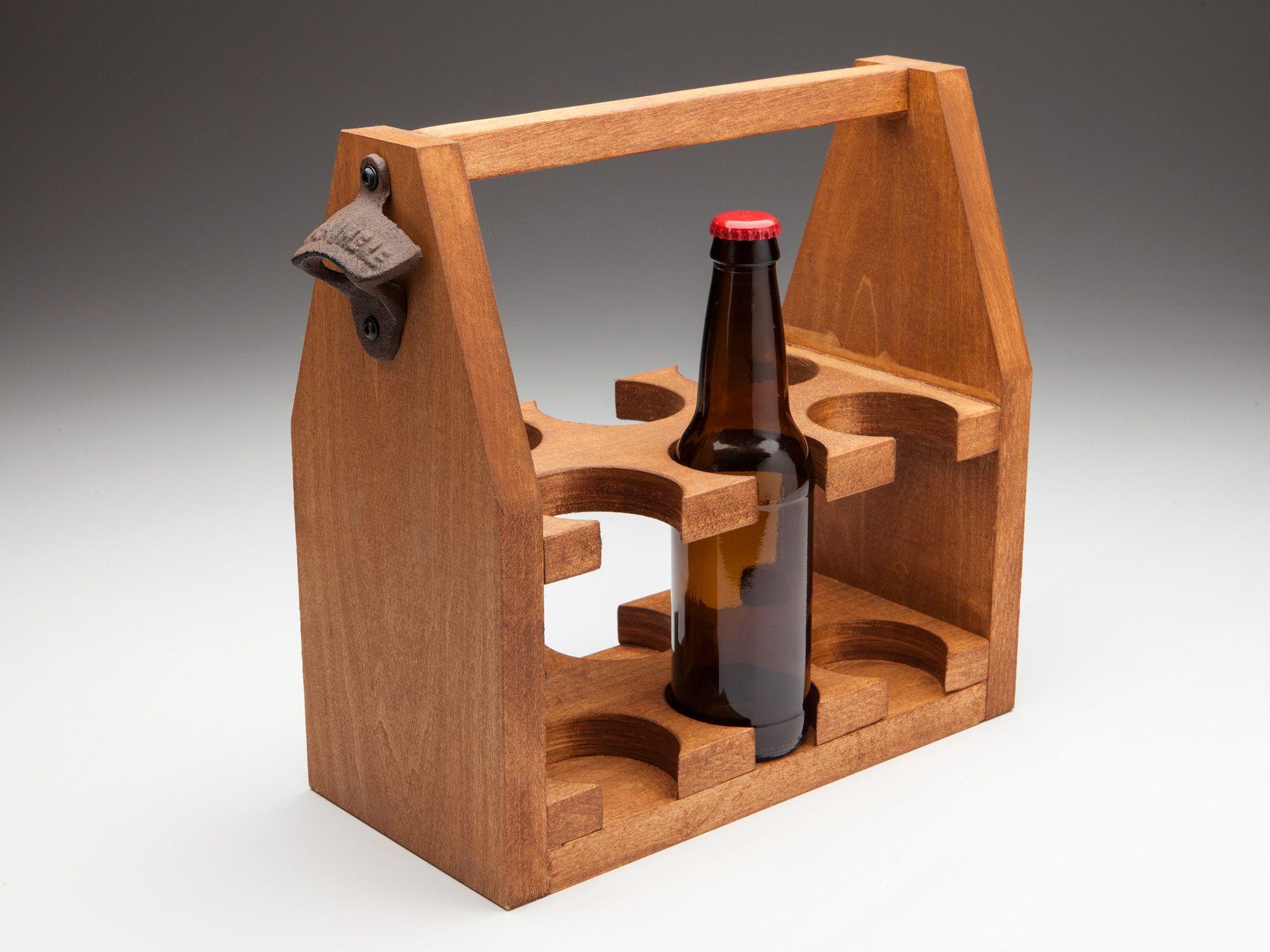 Wine Rack The Six Shooter Poplar Wooden Beer Tote, American Provincial