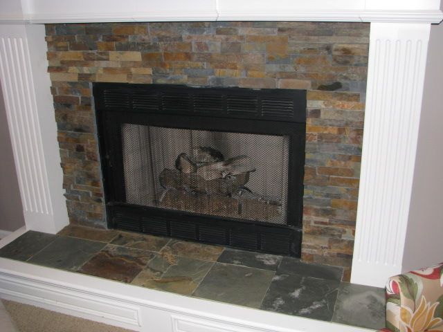 Black Slate Fireplace Surround : Slate tile fireplace surround catchy photography patio or