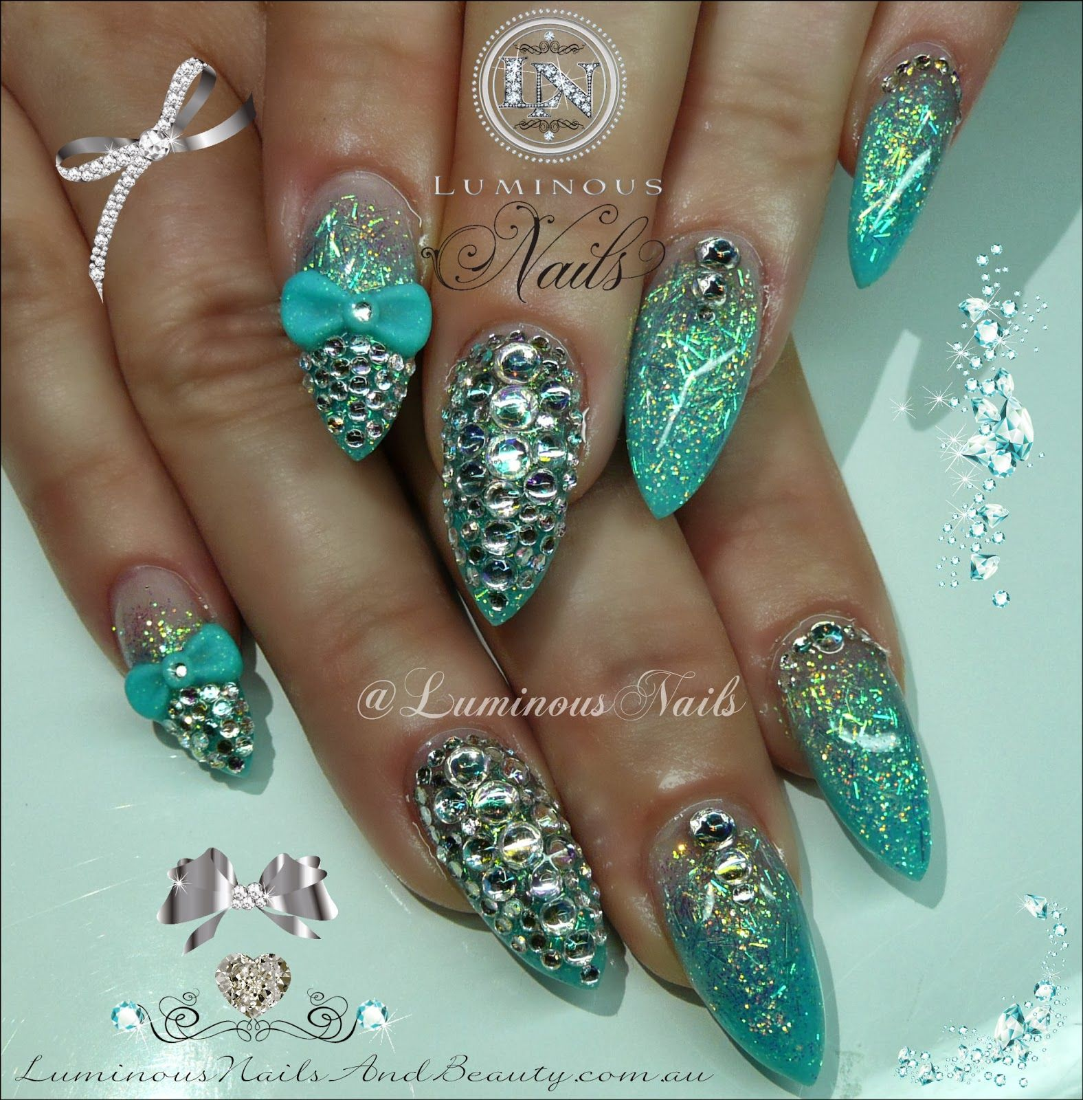Turquoise Stiletto Nail Art: Luminous Nails: Shimmery Turquoise Nails With Lots Of