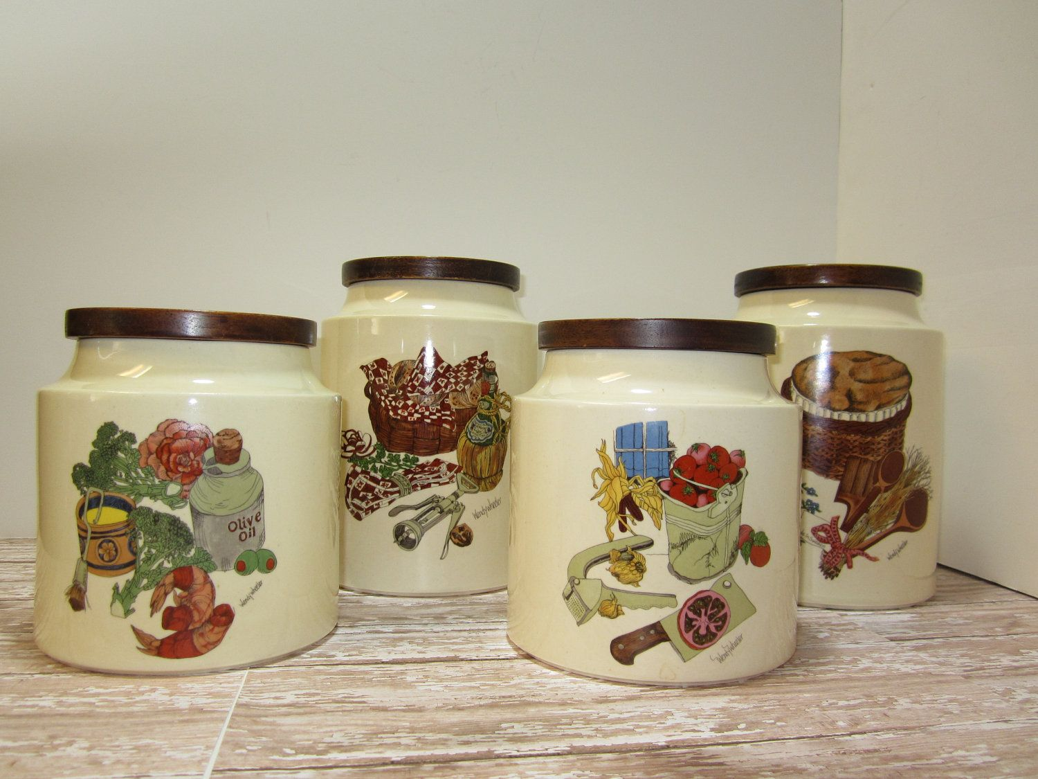 ceramic canister set hyalyn pottery stoneware glass canisters