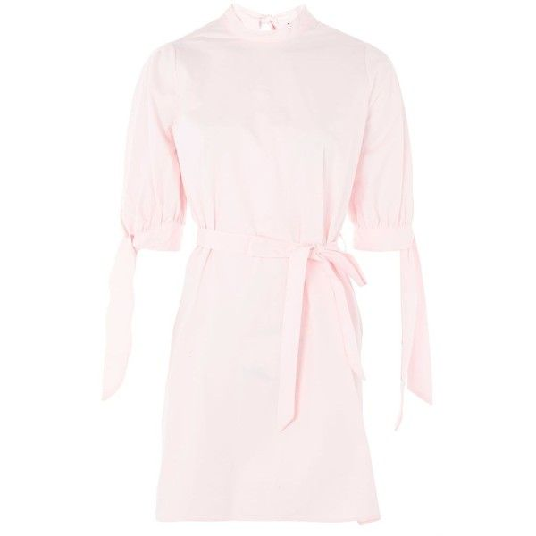 TopShop Poplin High Neck Shirt Dress (£58) ❤ liked on Polyvore featuring dresses, pink, stripe dresses, poplin shirt dress, long shirt dress, stripe shirt dress and tie dress