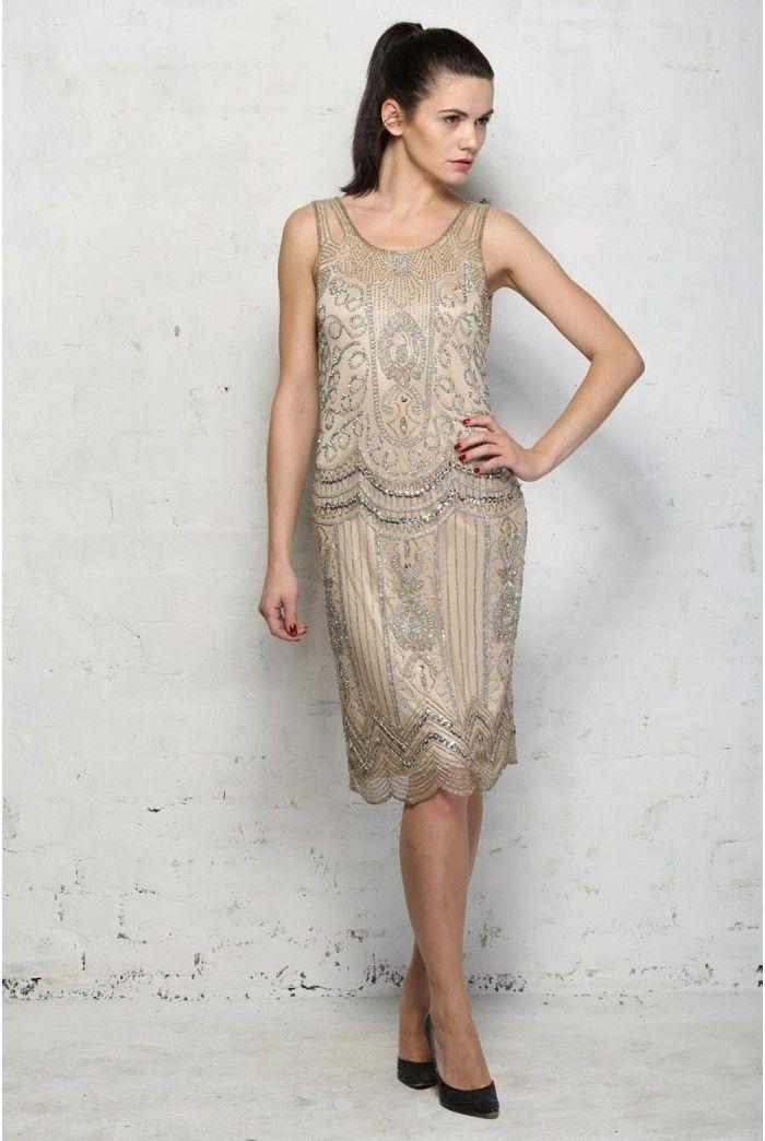 Beaded Silver Flapper Dress   basics and style.   Pinterest