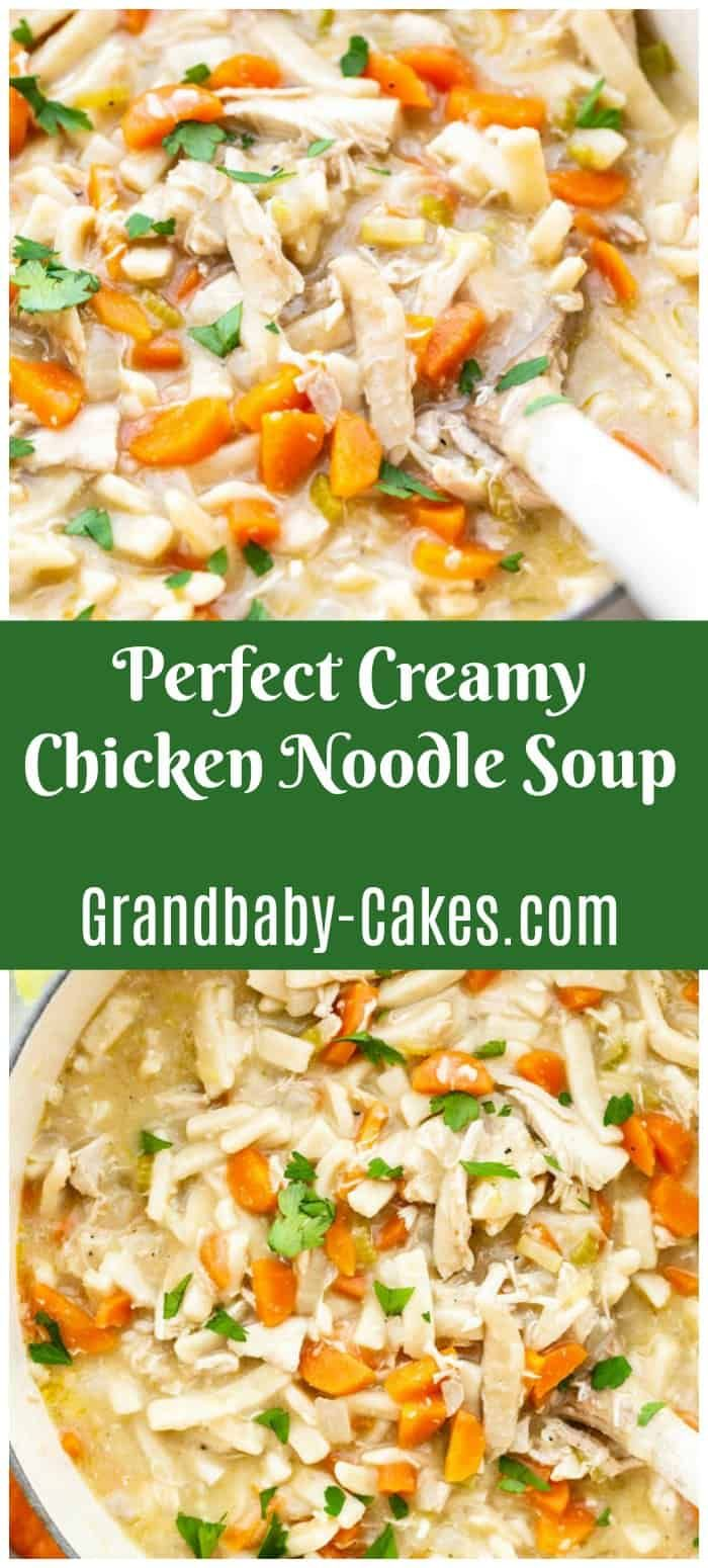 this easy creamy chicken noodle soup recipe is rich with