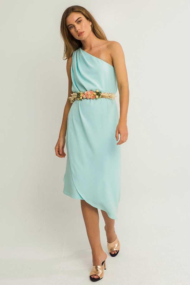 Vestido Corto Asimetrico Capa Mar | Vestidos cortos, Azul claro y Escote