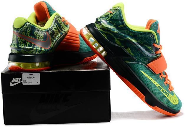 finest selection 28e4b 87c27 Nike KD 7 Green Orange Sneakers1