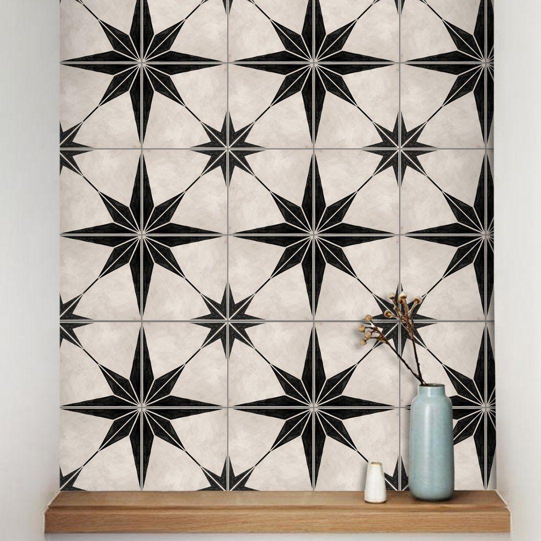 Astra In Black Vinyl Tile Sticker Vinyl Tile Removable Vinyl Wall Decals Vinyl Wall Decals
