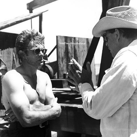 """""""Frustrated by his lack of rapport with George Stevens, James Dean quickly lost interest in the production. He avoided rushes...and absented himself from social gathering attended by the rest of the cast. At one barbecue he did go to, James Dean filled his plate with fried chicken and repaired to a cowshed, only emerging after most of the others had left."""" ~ Ron Martinetti #jamesdean #georgestevens #giant #classicmovies #oldhollywood #foreveryoung #americanicon #classichollywood #50s #1950s…"""