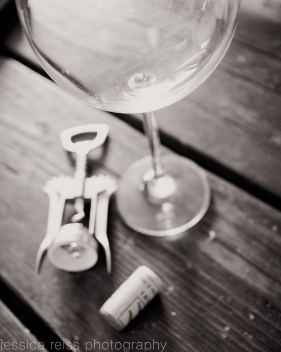 Black and white wine glass wine lovers cork corkscrew still life photography art print wall art decor kitchen dining room bar cafe art