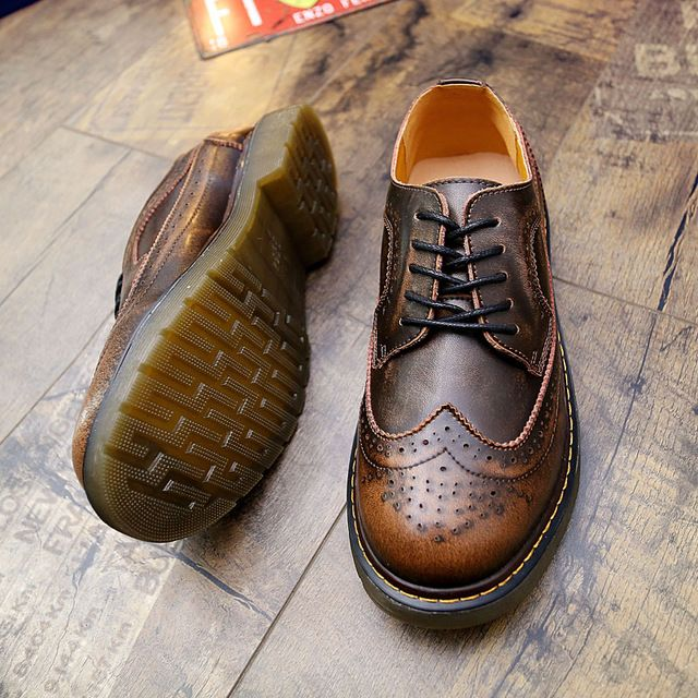 Steampunk Style Brand Men Brogue Shoes Platform Men Oxfords Shoes British  Style Creepers Cut-Outs