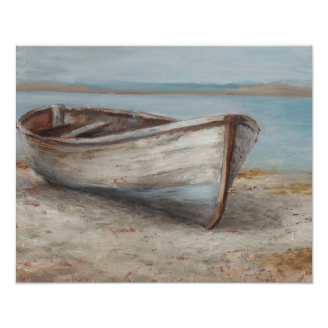 Whitewashed Boat On The Shore Poster Zazzle Com Boat Wall Art Boat Painting Acrylic Boat Art