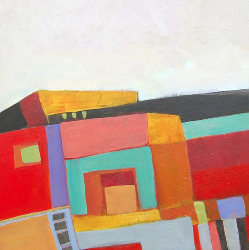"""Abstract Artists International: Contemporary Abstract Painting """"La Boca #4"""" by Santa Fe Artist Annie O'Brien Gonzales"""