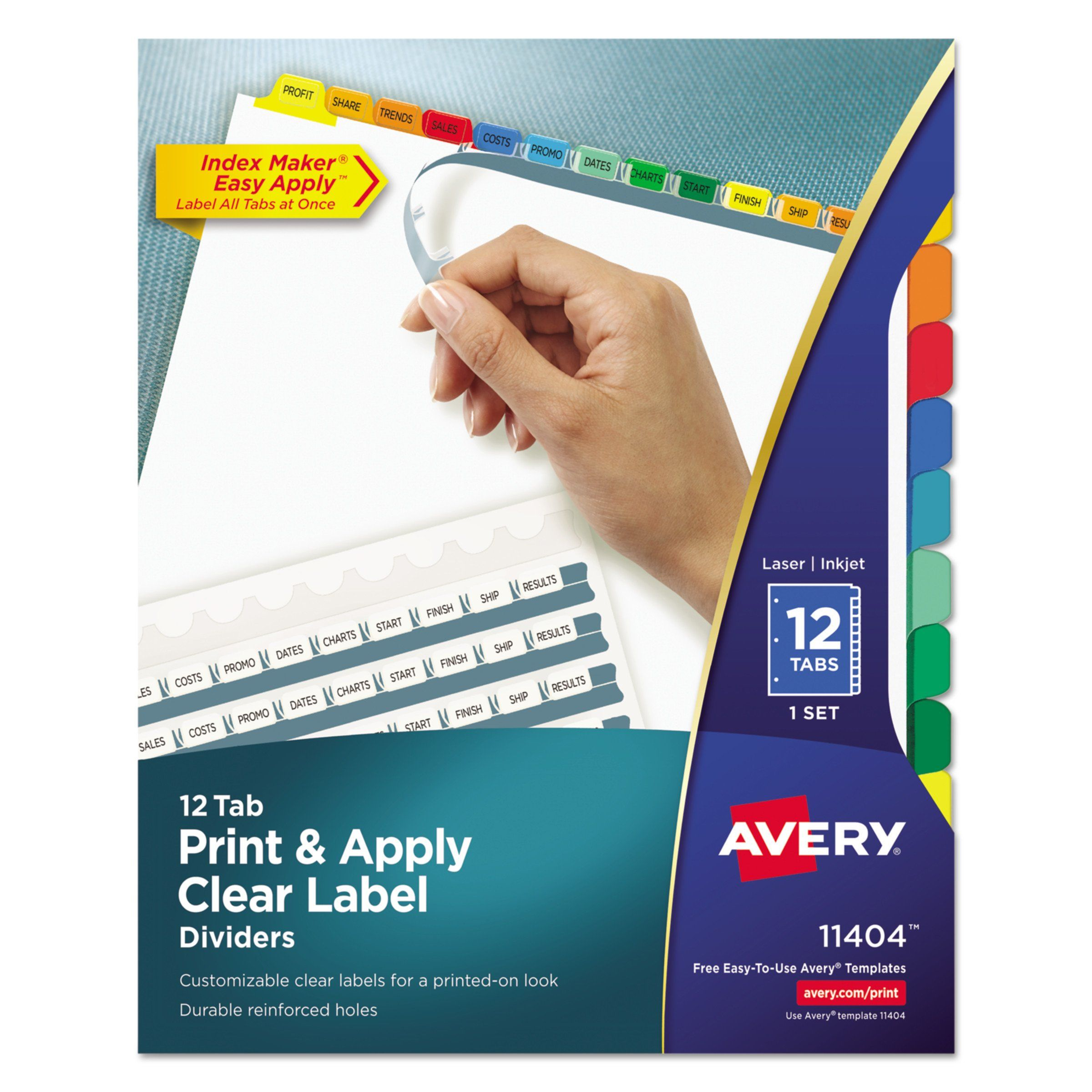 avery index maker print apply clear label dividers wcolor tabs 12