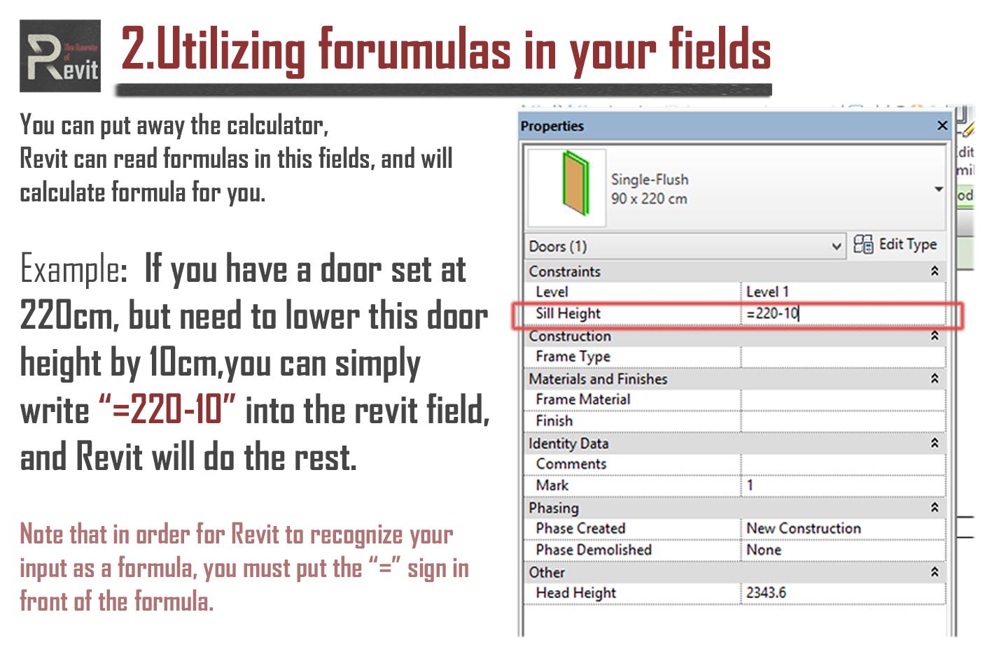 Utilizing formulas in your fields   Tips & Tricks in Revit   Fields