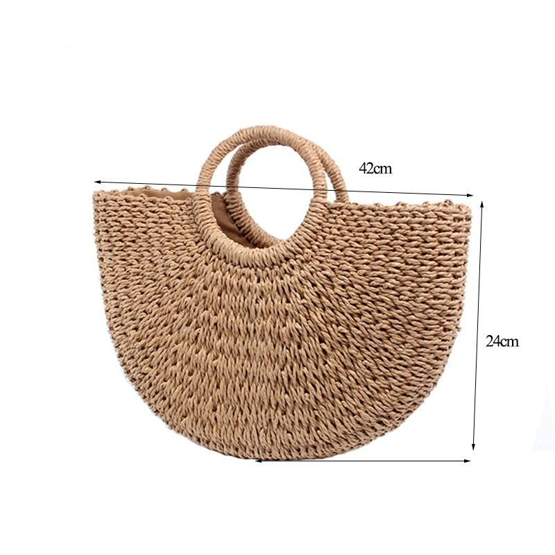 Beach Bag Hand Woven Straw Bags Fashion Women Casual Tote Large Capacity Shopping Women Handbags #zippertop