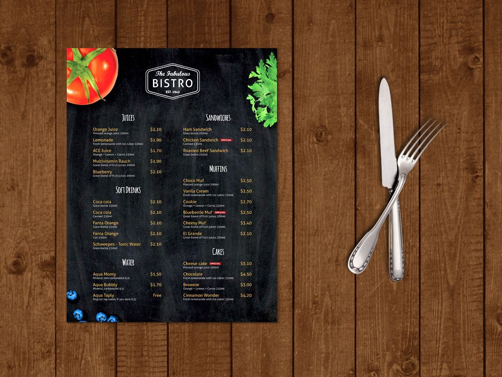 Modern BistroCafe Menu Template By Themzy Templates On