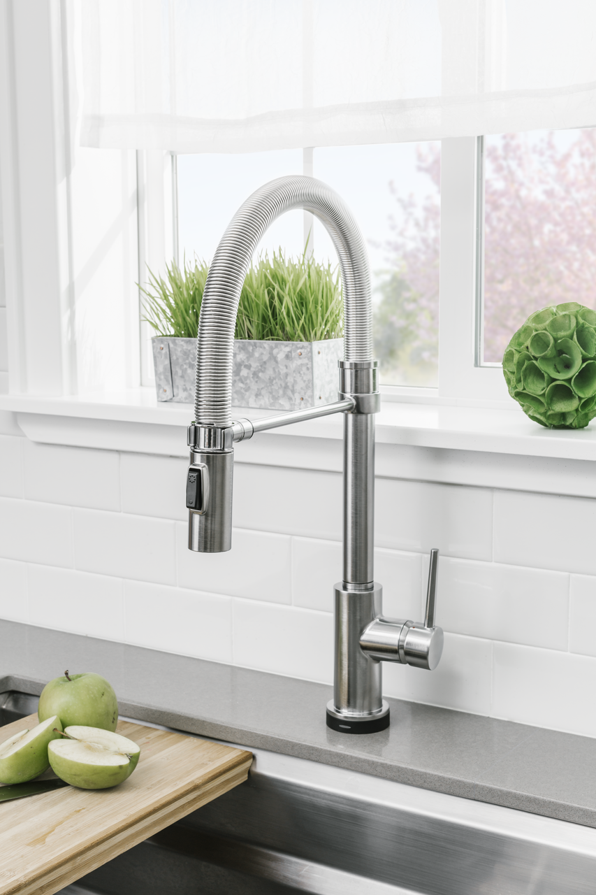 Chrome Trinsic Pro Pre-Rinse Pull-Down Kitchen Faucet with On/Off ...