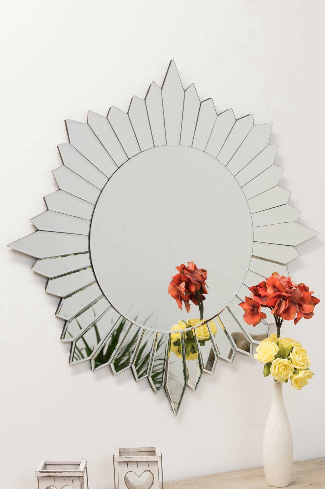 Shop Large Round Sunburst All Glass Mirror 80x80cm A Beautiful All
