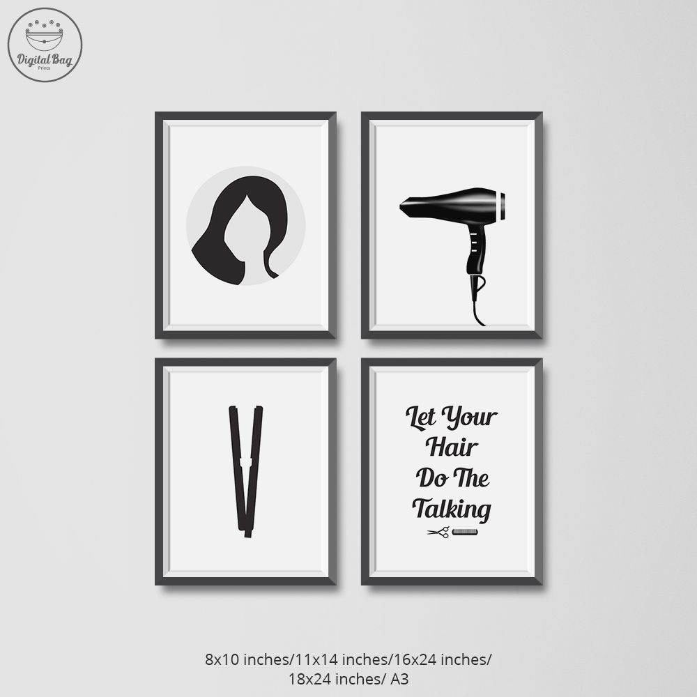 Hair Salon Decor Set Of 4 Digital Download Poster Prints