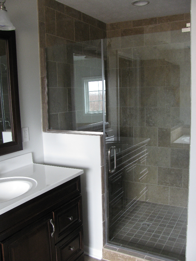 This Bathroom Remodel Features Mohawks Sahara Stone Cairo Brown