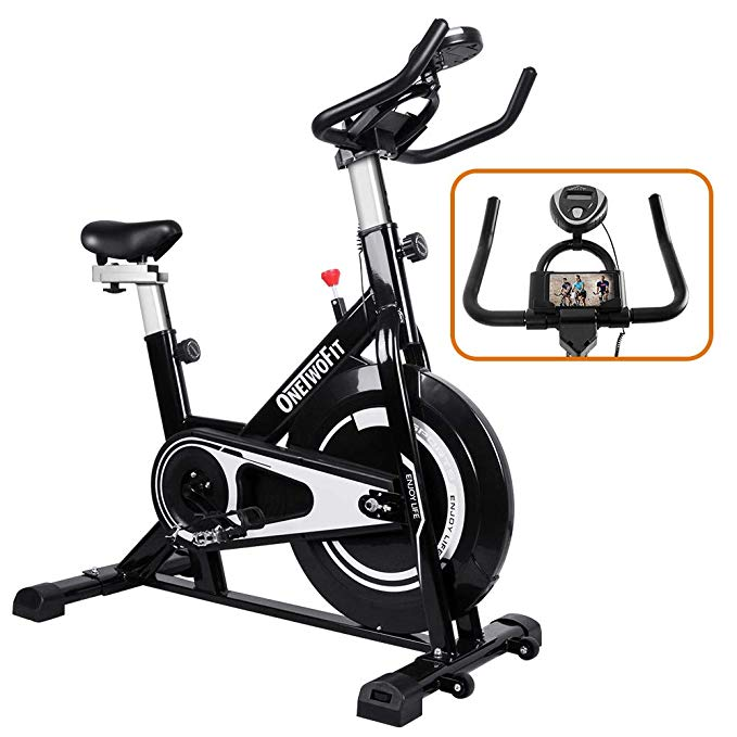 Amazon Com Onetwofit Indoor Exercise Bike With Monitor