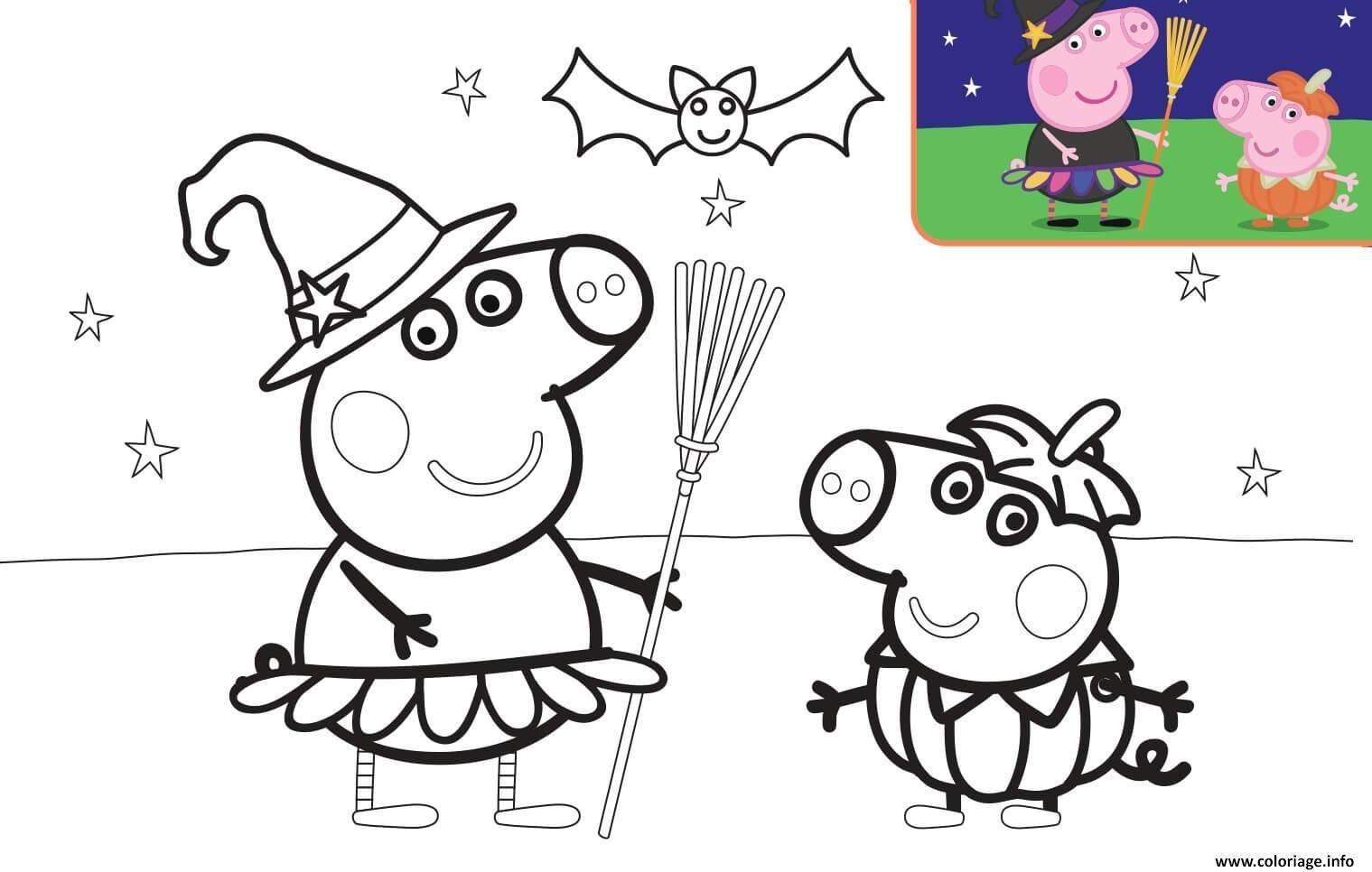 Coloriage Halloween George Pig et son fils à imprimer ...