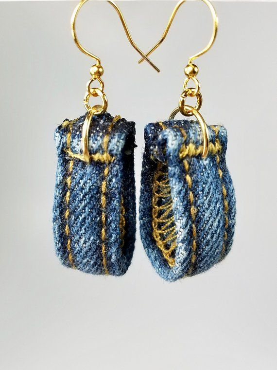 Blue Earrings, Repurposed Denim Fabric Jewelry, Belt Hoop Dangle, Upcycled Jeans