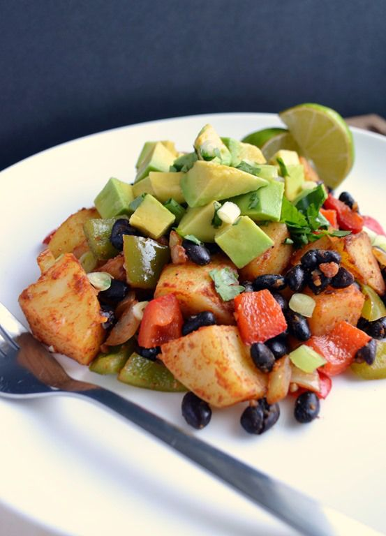 Smoky Black Bean Potato Avocado Hash