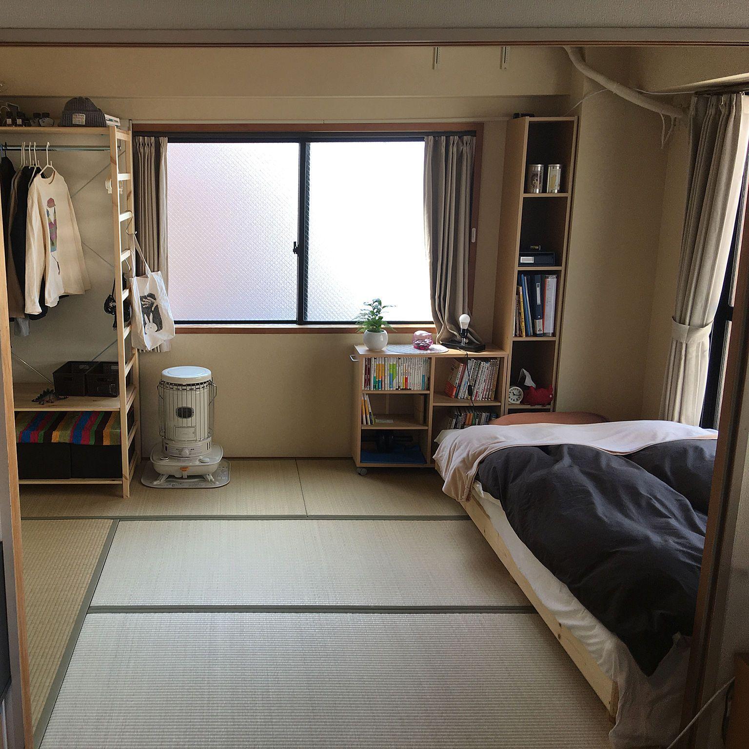 部屋全体 寝室は和室 寝室 和室のインテリア 和室ベッドルーム などのインテリア実例 2018 03 13 11 18 04 Roomclip ルームクリップ 和室 ベッドルーム 一人暮らし部屋レイアウト インテリアデザイン