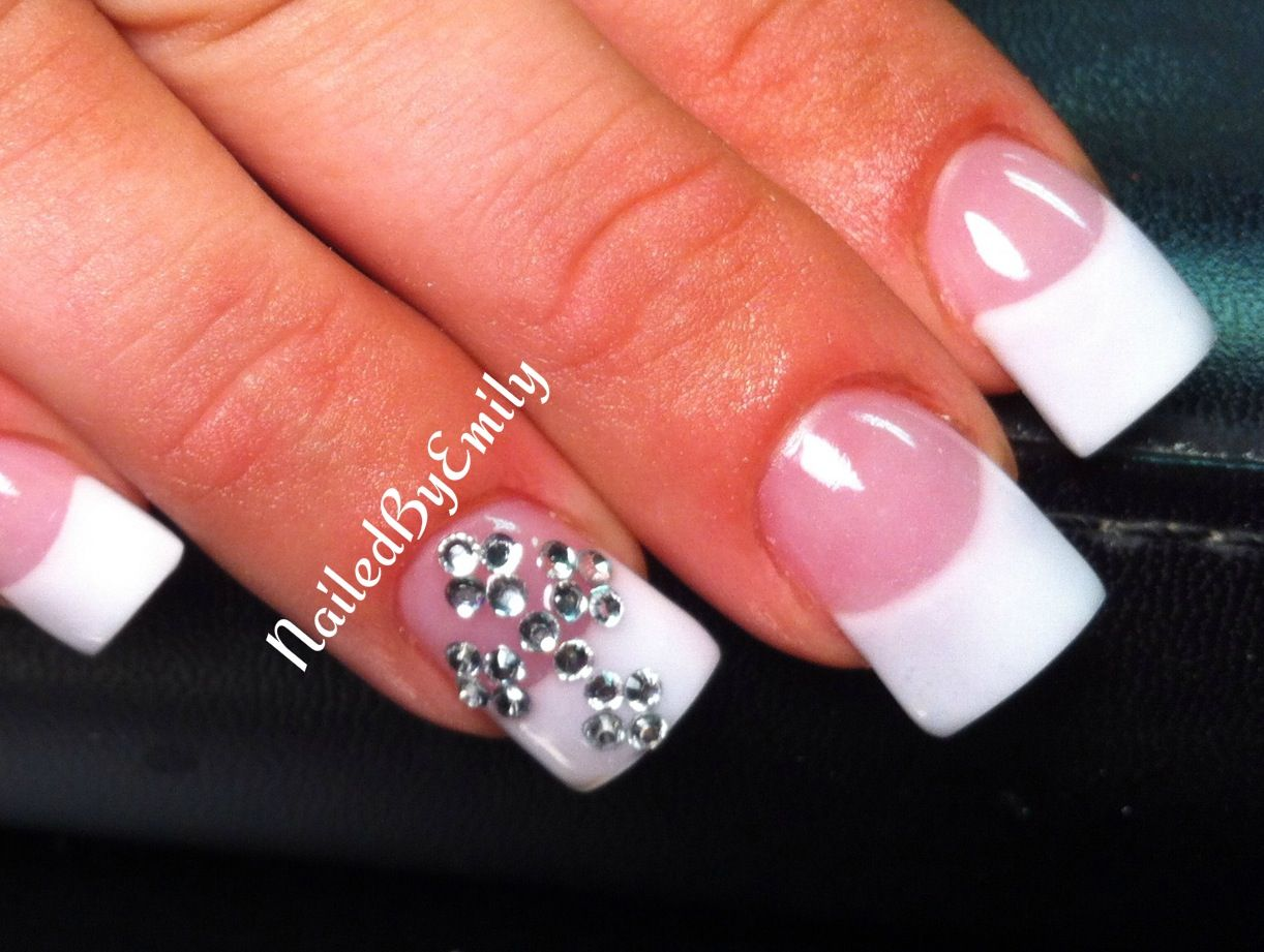 Acrylic nails French tip white tips bling rhinestone cross diamonds ...