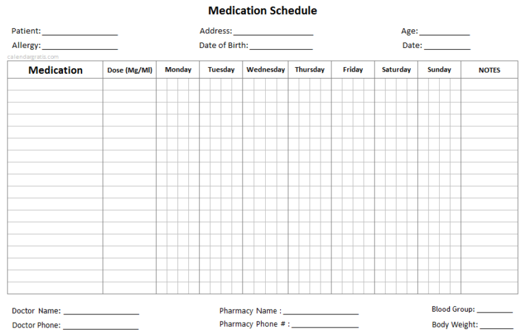 Medication Schedule Template Daily Weekly Monthly Medication Chart Medication Chart Medication Chart Printable Medication List
