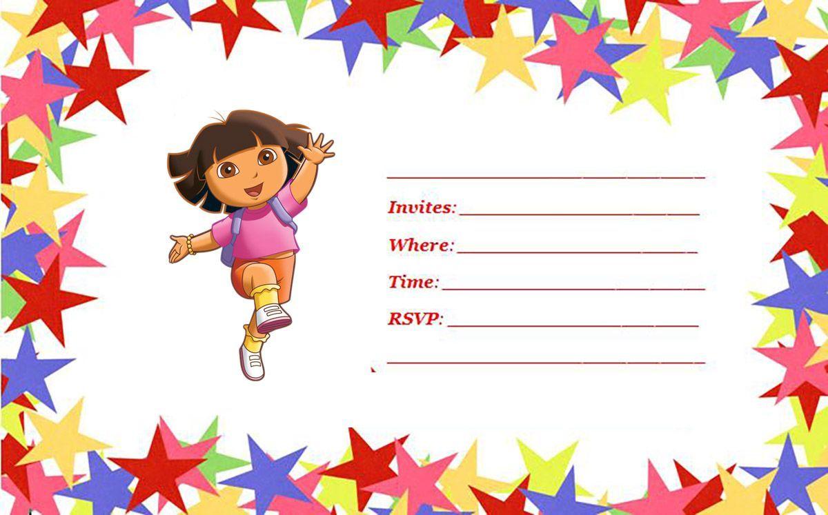 Download Now FREE 1st Dora Birthday Invitations Wording | FREE ...