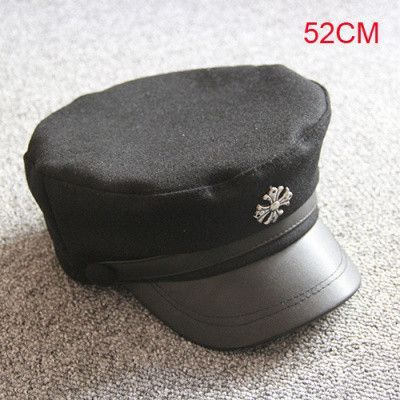 Leather Cross Buckle Unisex Army Cap Flat -Top Hat