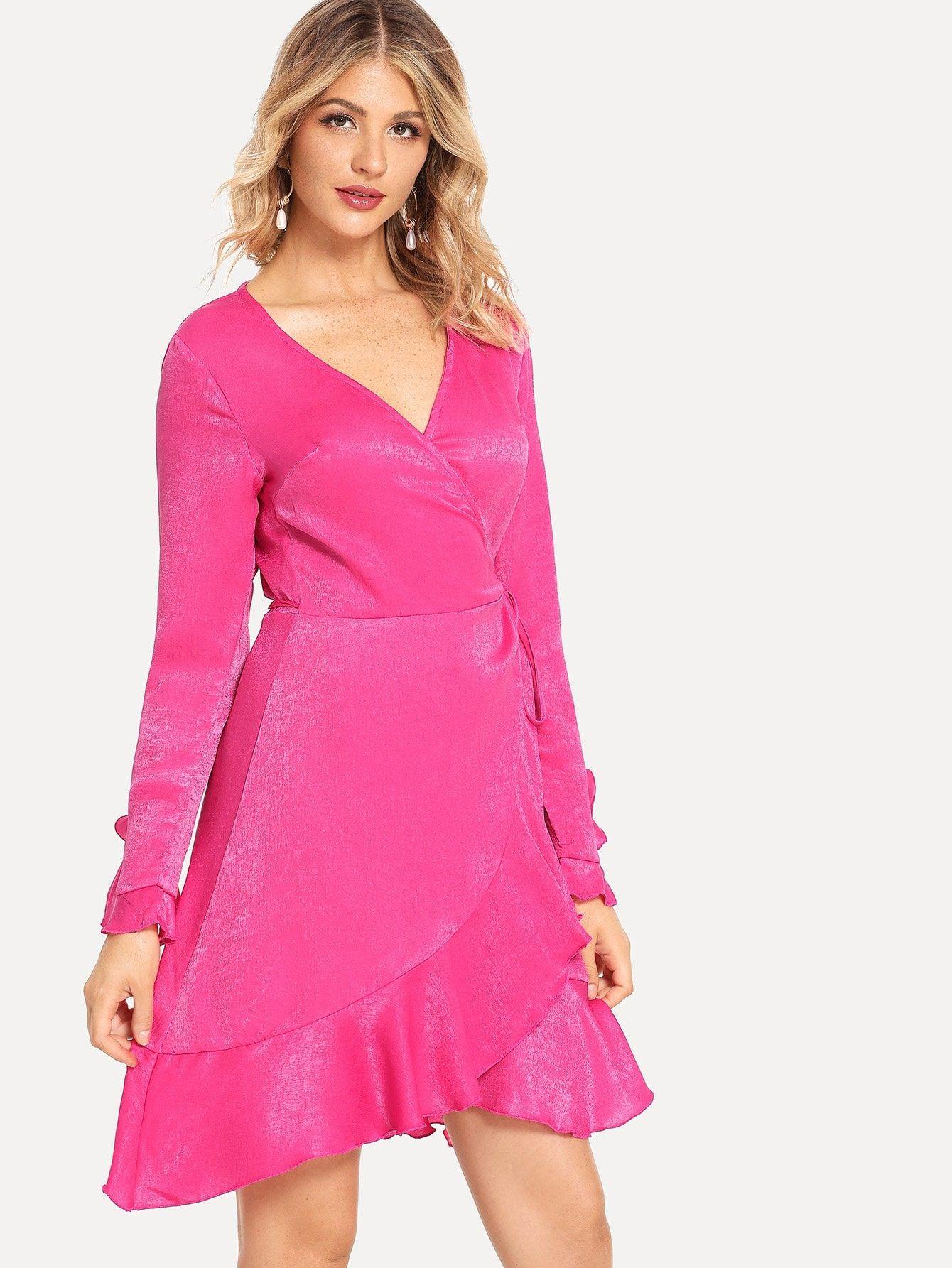 3c08ba993e Casual Wrap and Ruffle Hem and Knot Plain Fit and Flare V Neck Long Sleeve  Flounce Sleeve Natural Hot Pink Short Length Ruffle Hem Wrap Bell Sleeve  Dress