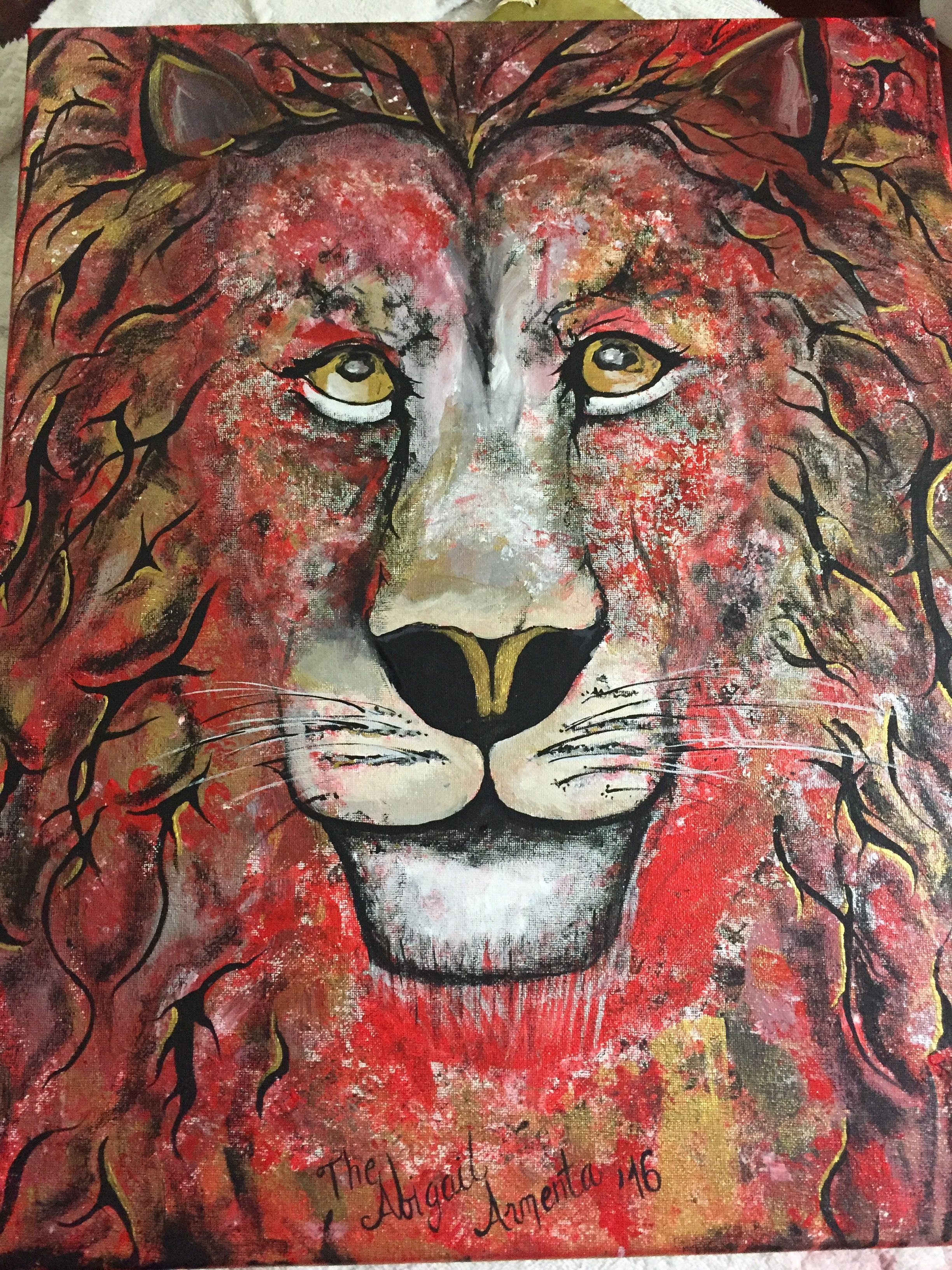 Lion acrylic painting canvas