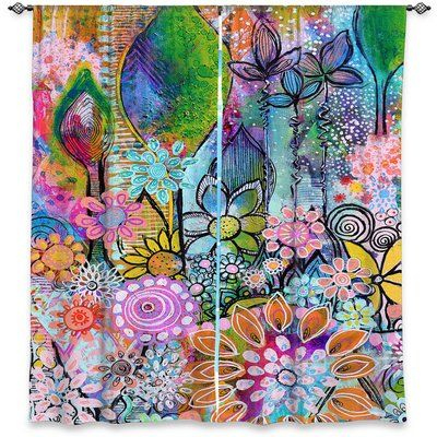 Rochele Nature/Floral Synthetic Room Darkening Curtain Panels