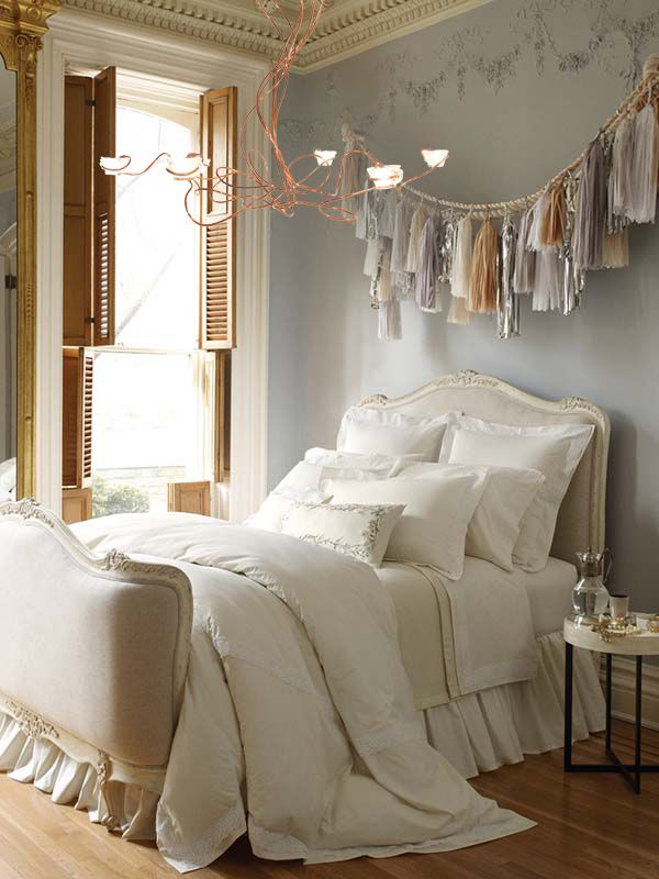 Gracious Guest Bedroom Decorating Ideas: In This Very Feminine Room, The Copper Tubing Chandelier With Its Punch Cups…
