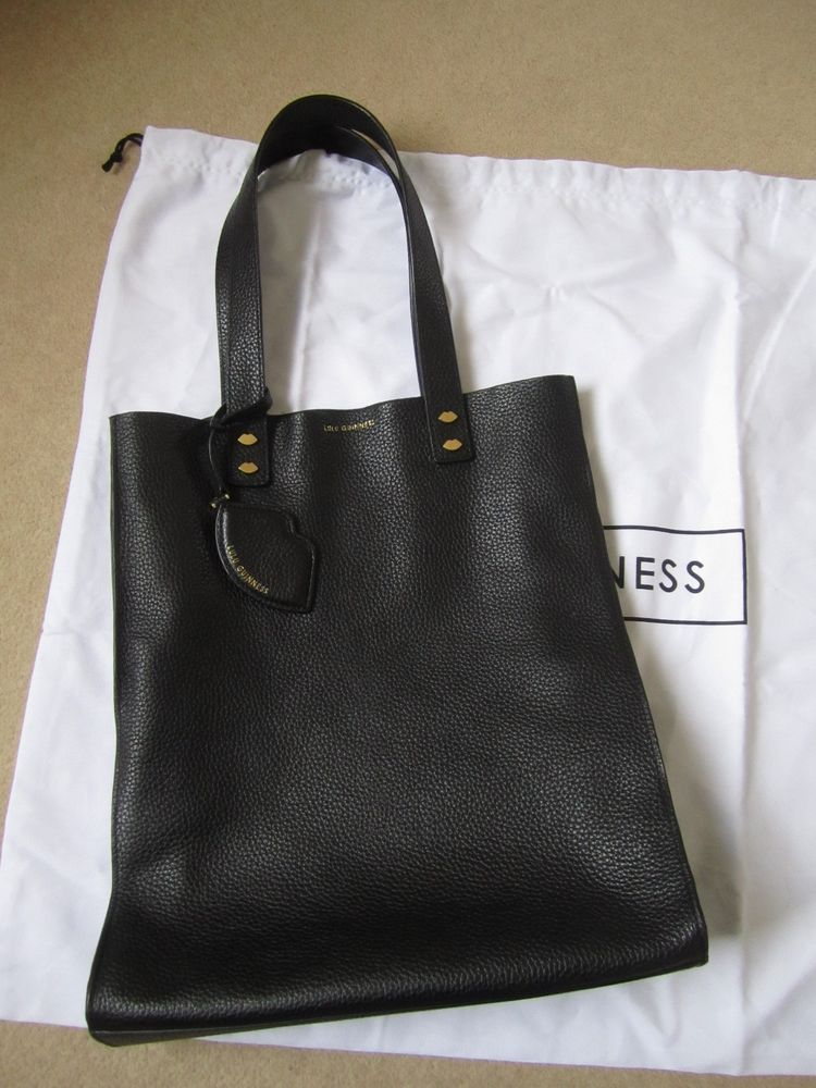 Lulu Guinness Black Grainy Leather Tilda Bag Tote With Charm Used Bags Pinterest Dust And