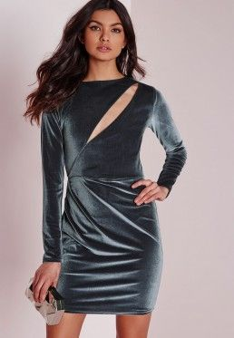 Velvet Long Sleeve Bodycon Dress Grey Lina Dresses