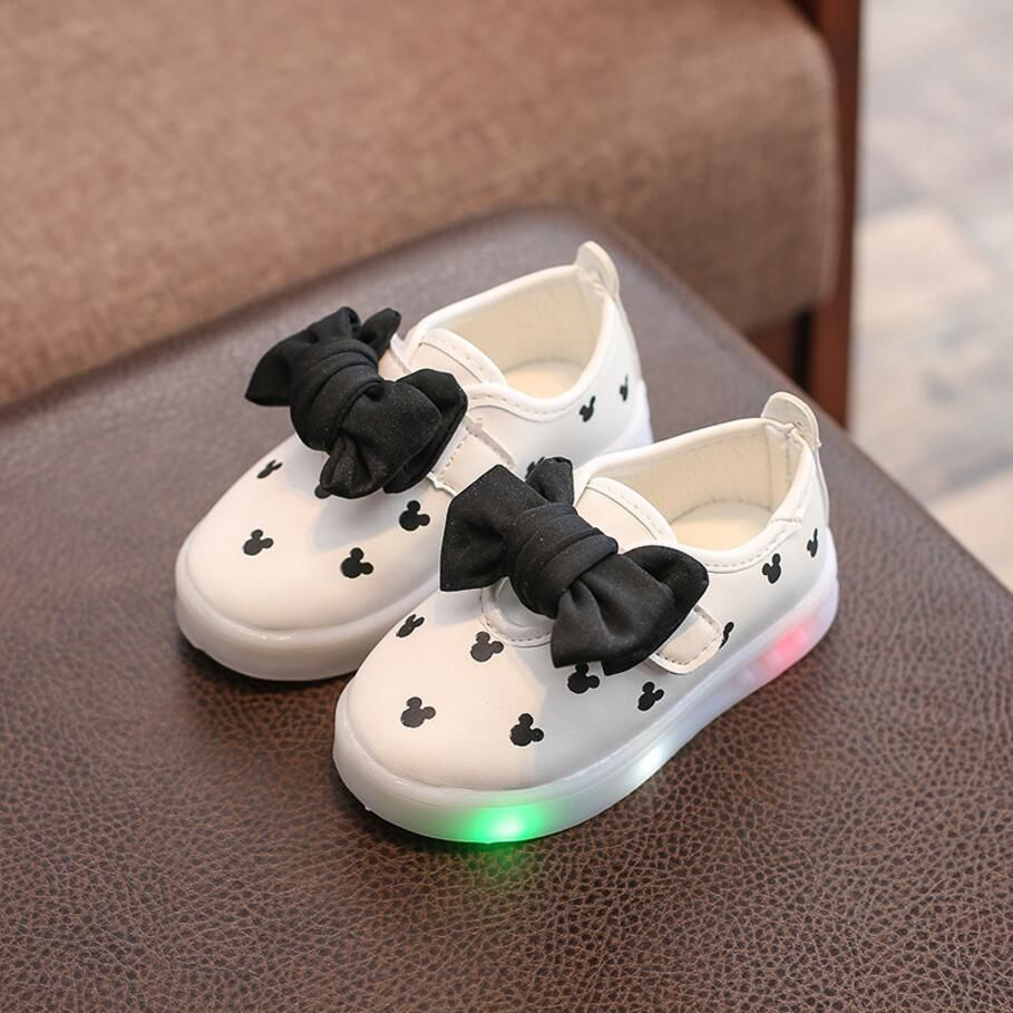 New Spring Autumn Girls Shoes Led Colorful Light Shoes Bowknot Kids Sneakers Children S Cartoon Flat Shoes Size Girls Casual Shoes Boys Casual Shoes Kid Shoes