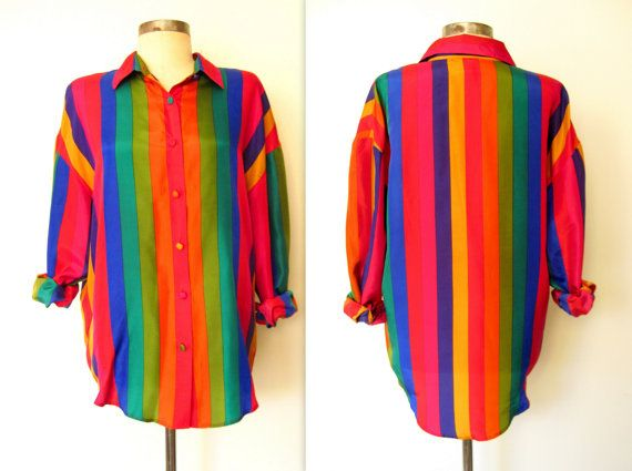 ✦ Rainbow of Stripes Bright SILK Blouse by LolaVintage on Etsy. http://etsy.me/19tncb3