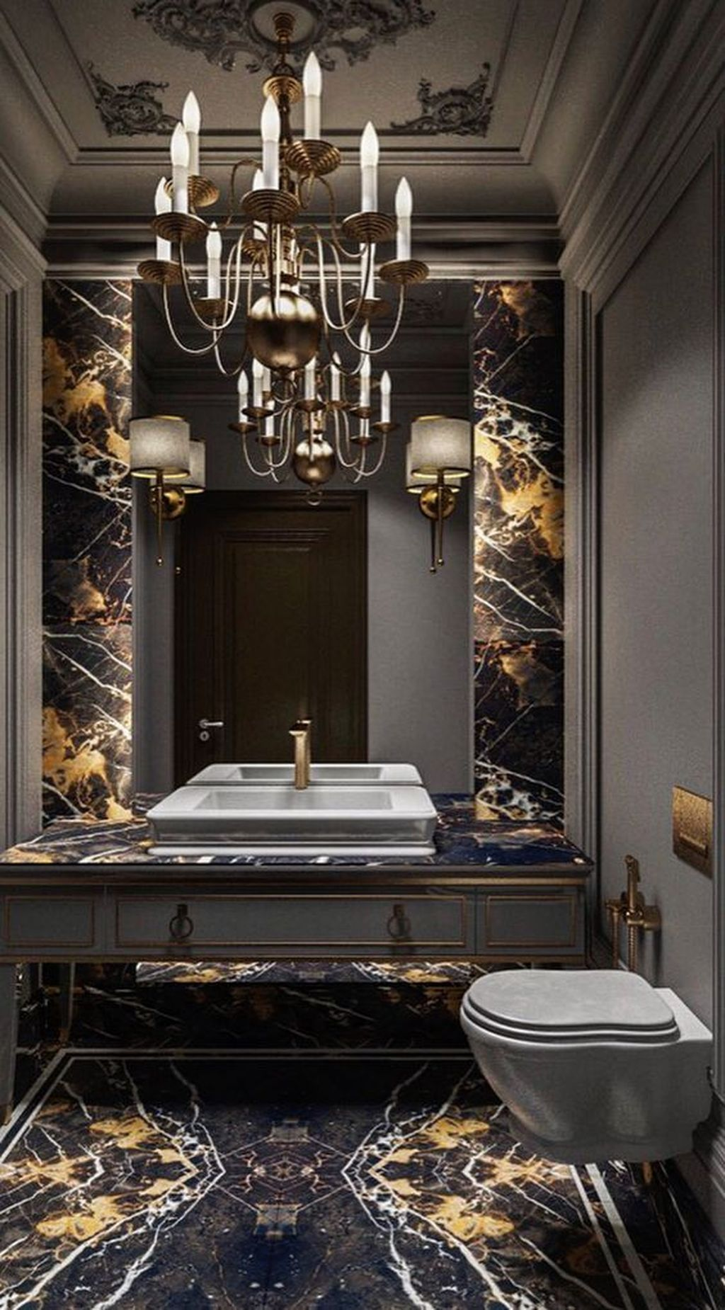 48 Stunning Black Marble Bathroom Design Ideas #bathroomdecoration