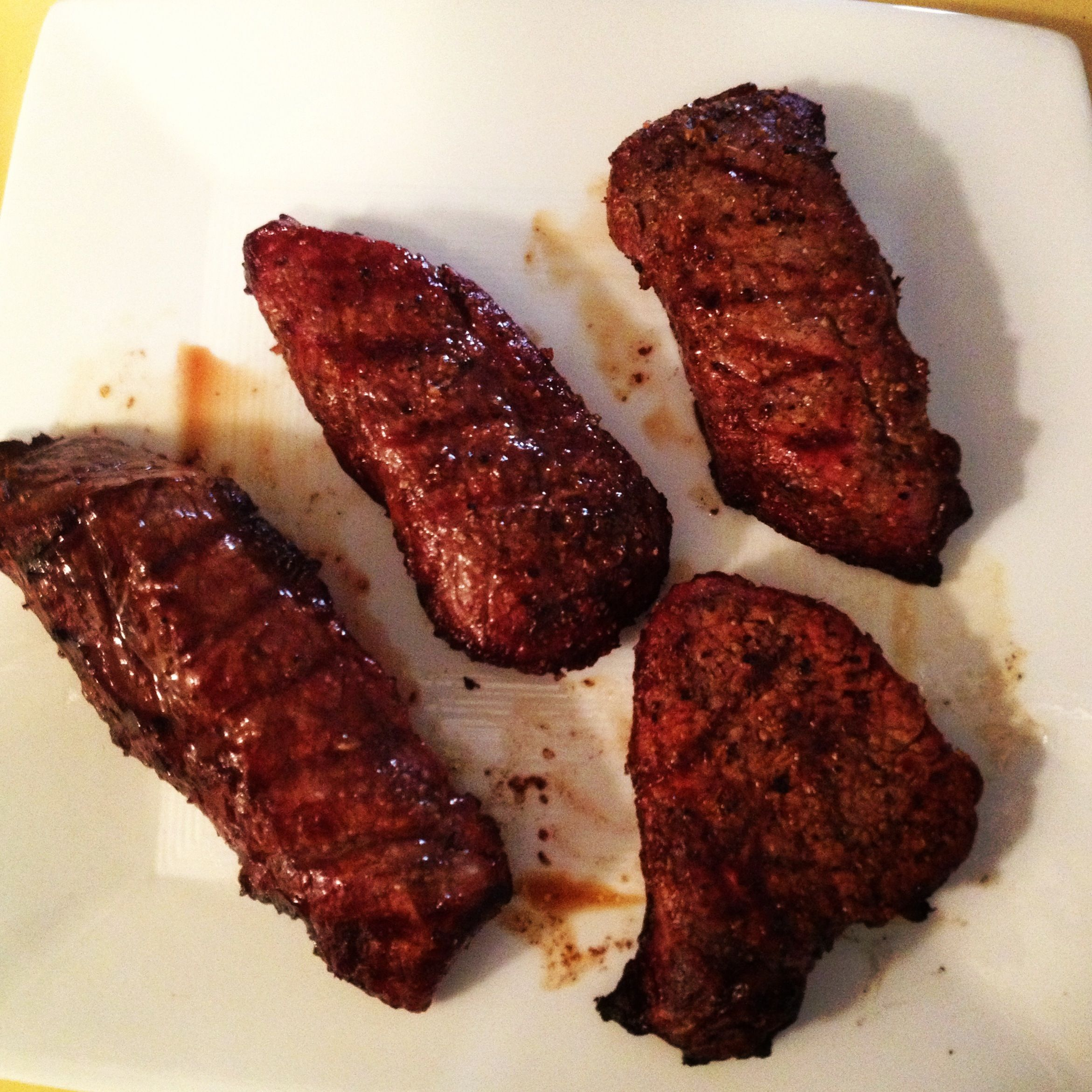 my hubby's tri-tip! (trader joe's delicious tri-tip steaks marinaded in soy sauce and spices!) the BEST!