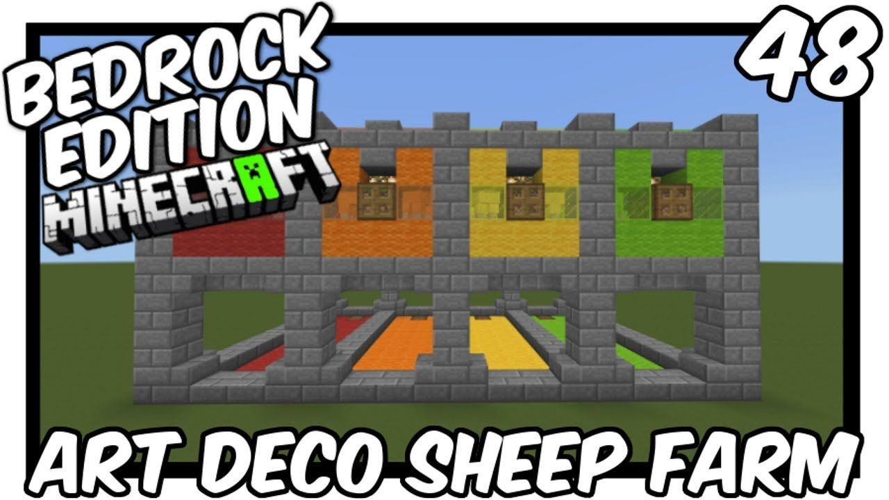 How To Make Pixel Art In Minecraft Bedrock Upright Art Deco Sheep Farm Bedrock Edition Minecraft Blueprints Minecraft Sheep Farm