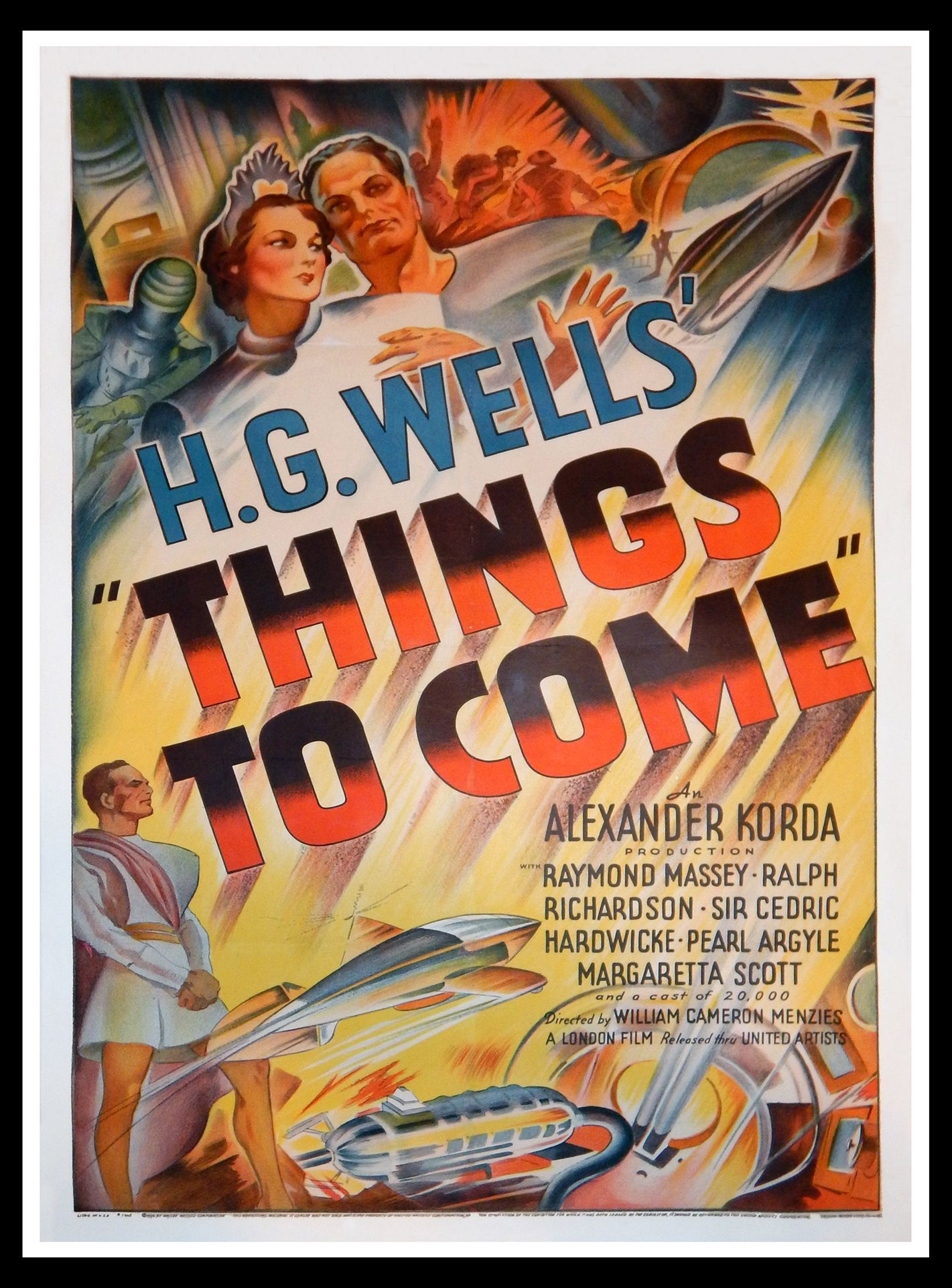 Things To Come 1936 Original One Sheets Size 27x41 Movie Poster Movie Posters Vintage Science Fiction Movie Posters Horror Movie Posters