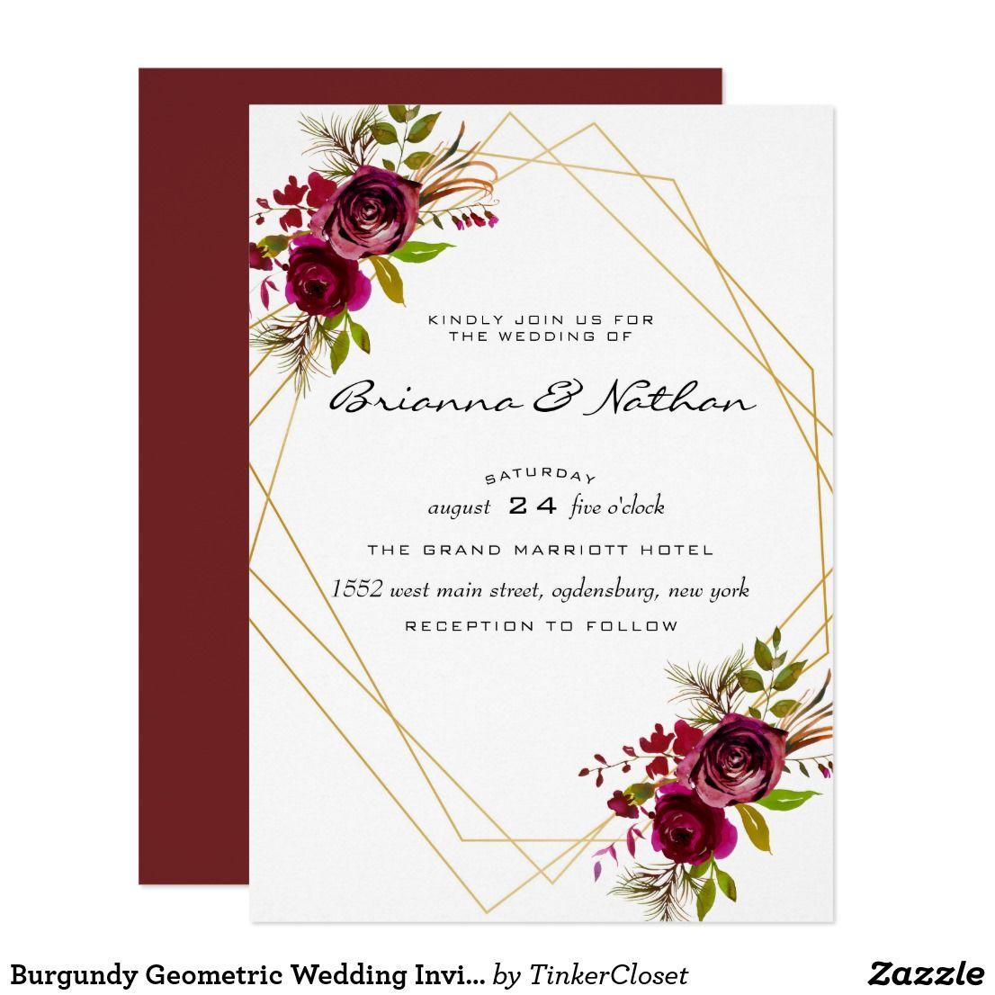 Burgundy Geometric Wedding Invitation Zazzle.ca